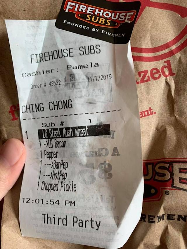 Zhao Zhe was angry after an employee at Firehouse Subs changed his name to a racial slur on the receipt. Source: Zhao Zhe - Facebook.