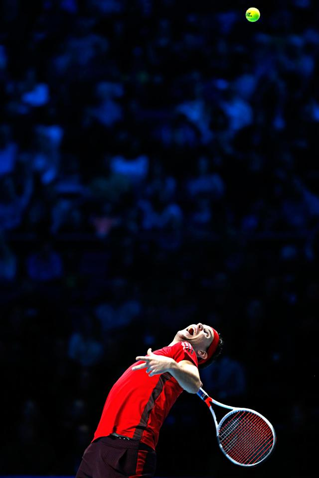 <p>Rafael Nadal of Spain returns the ball to David Goffin of Belgium during their singles tennis match at the ATP World Finals at the O2 Arena in London, Monday, Nov. 13, 2017. (AP Photo/Kirsty Wigglesworth) </p>