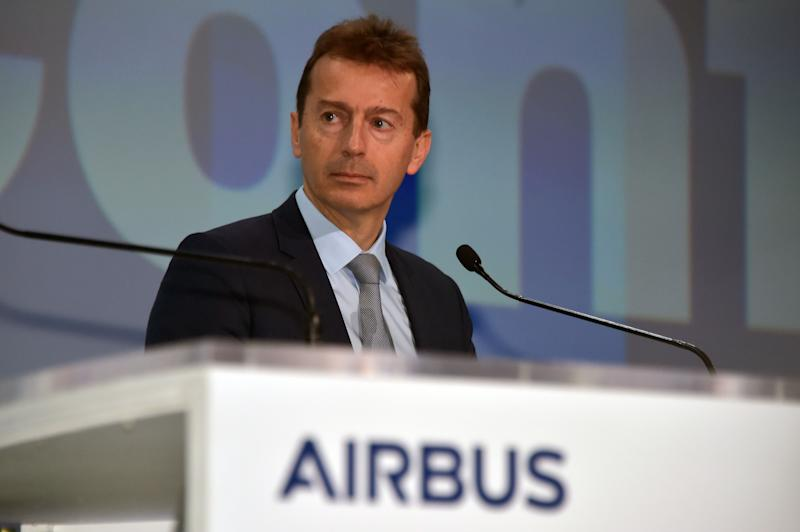 Guillaume Faury, Airbus chief excecutive officer, speaks during the annual press conference of the group's 2019 results on February 13, 2020 at Airbus' headquarters in Blagnac, southwestern France. - Airbus reported a net loss of 1.36 billion euros in 2019 after being hit by a 3.6-billion-euro fine over a bribery scandal and extra development costs for the A400M transport aircraft. (Photo by PASCAL PAVANI / AFP) (Photo by PASCAL PAVANI/AFP via Getty Images)
