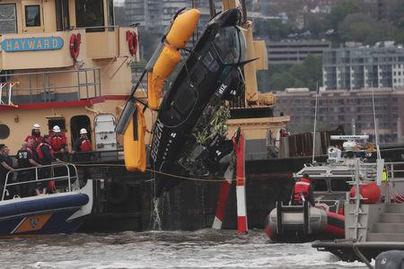 Terrifying moment helicopter crashes into New York's Hudson River