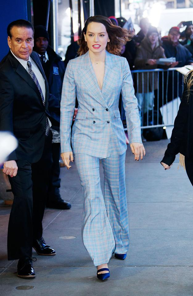 <p>Daisy Ridley at GMA on November 2017 in New York City<span>.</span></p>