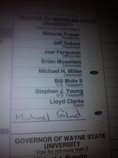 This photo showing a vote for Michigan State University trustees has resulted in a lawsuit questioning the ban on ballot photography