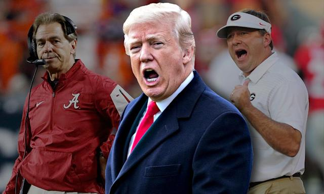 President Donald Trump should feel right at home in Atlanta for the national title game. (Getty/Yahoo Sports)