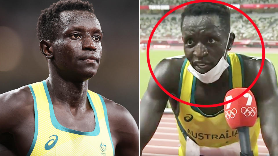 Peter Bol, pictured here after finishing fourth in the 800m final.