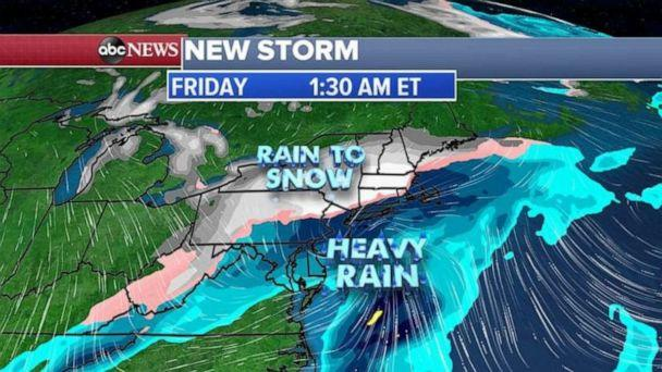 PHOTO: Here is the projected precipitation forecast from our European model, showing snow for inland areas of the Northeast. (ABC News)