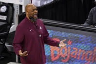 Florida State head coach Leonard Hamilton directs his team during the first half of an NCAA college basketball Championship game against Georgia Tech at the Atlantic Coast Conference tournament in Greensboro, N.C., Saturday, March 13, 2021. (AP Photo/Gerry Broome)