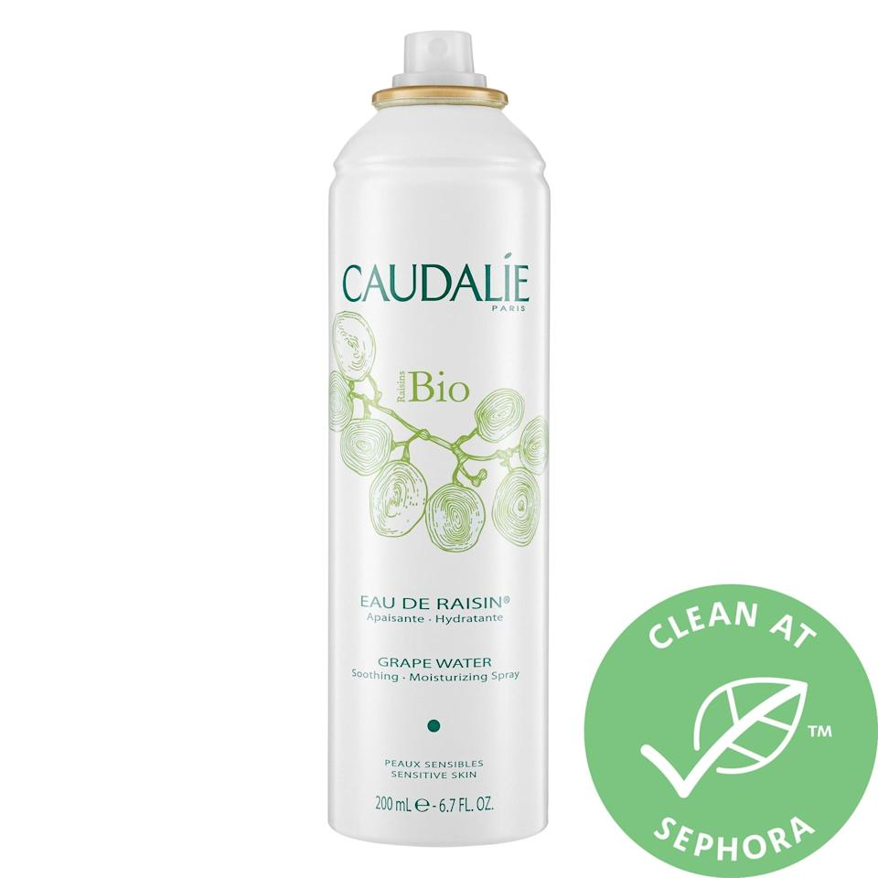 """<p>This <a href=""""https://www.popsugar.com/buy/Caudalie-Grape-Water-572841?p_name=Caudalie%20Grape%20Water&retailer=sephora.com&pid=572841&price=10&evar1=bella%3Aus&evar9=47461551&evar98=https%3A%2F%2Fwww.popsugar.com%2Fbeauty%2Fphoto-gallery%2F47461551%2Fimage%2F47461576%2FCaudalie-Grape-Water&list1=sephora%2Cdry%20skin%2Cacne%2Csensitive%20skin%2Cbeauty%20shopping%2Cskin%20care&prop13=mobile&pdata=1"""" class=""""link rapid-noclick-resp"""" rel=""""nofollow noopener"""" target=""""_blank"""" data-ylk=""""slk:Caudalie Grape Water"""">Caudalie Grape Water</a> ($10-$18) comes directly from grapes in Bordeaux, adding in polysaccharides, mineral salts, and potassium - while still remaining 100 percent organic. This hydrating spray not only cools skin on the fly (or as a makeup setter), its ingredients can also calm redness from rosacea, rashes, or post-peel irritation.</p>"""