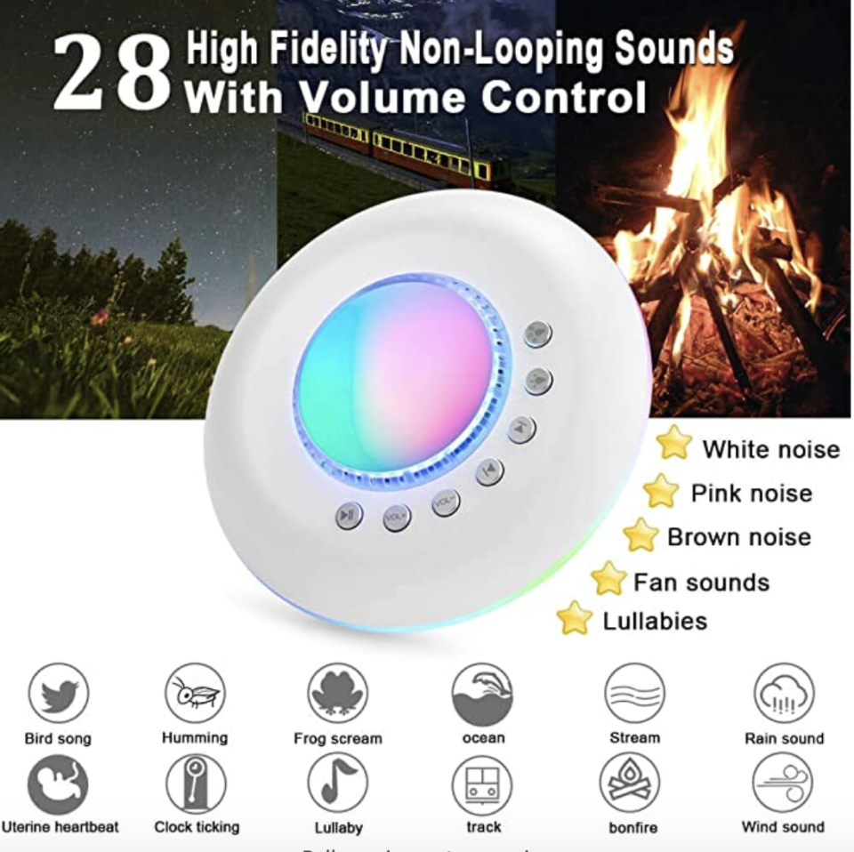PHOTO: Amazon. White Noise Machine Baby for Sleeping with Night Light/Starry Ambient Light, USB Portable