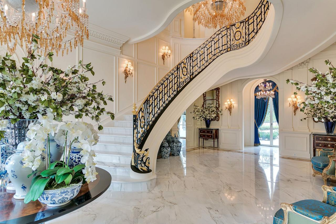 "<p>The staircase's cast-iron and gold-leaf banister, meanwhile, was <a rel=""nofollow"" href=""https://www.wsj.com/articles/my-very-own-versailles-homeowners-who-recreate-the-french-palace-1499349435"">modeled on one at Marie Antoinette's Le Petit Trianon</a>. </p>"