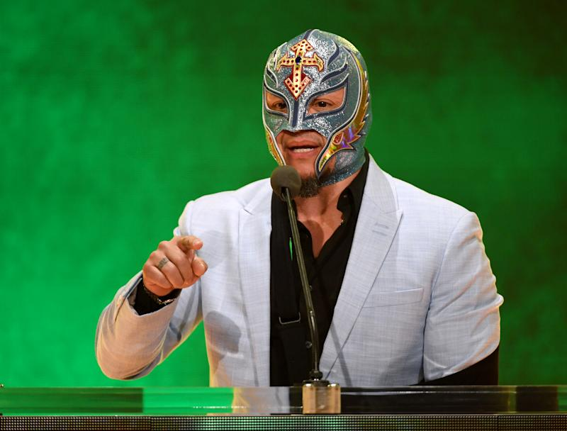 LAS VEGAS, NEVADA - OCTOBER 11: WWE wrestler Rey Mysterio speaks at a WWE news conference at T-Mobile Arena on October 11, 2019 in Las Vegas, Nevada. It was announced that WWE wrestler Braun Strowman will face heavyweight boxer Tyson Fury and WWE champion Brock Lesnar will take on former UFC heavyweight champion Cain Velasquez at the WWE's Crown Jewel event at Fahd International Stadium in Riyadh, Saudi Arabia on October 31. (Photo by Ethan Miller/Getty Images)