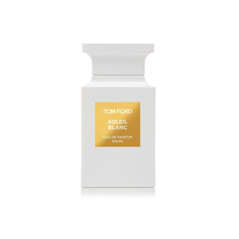 """<p>Have the winter blues already kicked in? Then reach for this summery stunner. Just one spritz of this amber-anchored scent – there's also solar and aqua notes in the mix to brighten things up – will immediately transport you to a beachier, sunnier, and happier place. <b><a href=""""http://www.tomford.com/soleil-blanc/T3T0-SOLEIL.html?dwvar_T3T0-SOLEIL_color=OC"""" rel=""""nofollow noopener"""" target=""""_blank"""" data-ylk=""""slk:Tom Ford Soleil Blanc"""" class=""""link rapid-noclick-resp"""">Tom Ford Soleil Blanc</a> ($220)</b></p>"""