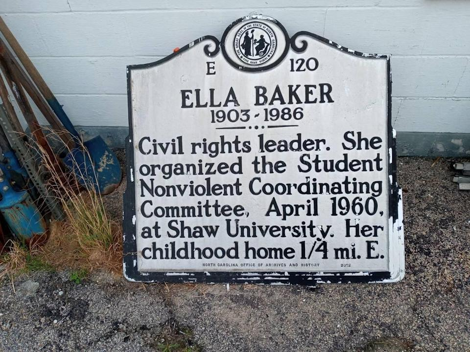 The N.C. Highway Historical Marker Program remains paused waiting for funding from the state Department of Transportation. A maintenance backlog includes replacing this damaged marker for Civil Rights leader Ella Baker in Littleton.