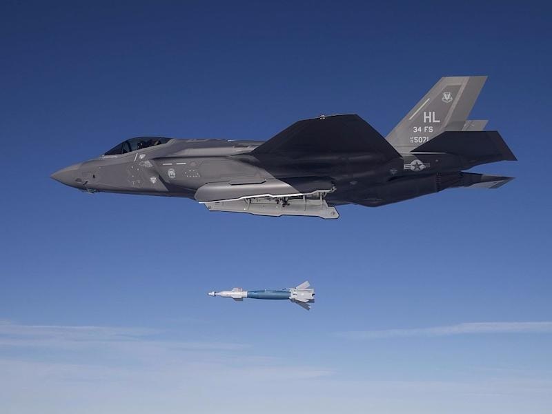 F 35A Lightning II bomb drop 34th squadron
