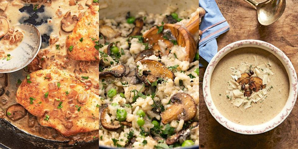 """<p>Craving a warm, umami-flavoured dish without the addition of meat? Mushrooms, people. Mushrooms. With everything from <a href=""""https://www.delish.com/uk/cooking/a34795291/slow-cooker-mushroom-risotto/"""" rel=""""nofollow noopener"""" target=""""_blank"""" data-ylk=""""slk:Mushroom Risotto"""" class=""""link rapid-noclick-resp"""">Mushroom Risotto</a> to <a href=""""https://www.delish.com/uk/cooking/recipes/a30451382/stuffed-portobello-mushrooms-recipe/"""" rel=""""nofollow noopener"""" target=""""_blank"""" data-ylk=""""slk:Stuffed Portobello Mushrooms"""" class=""""link rapid-noclick-resp"""">Stuffed Portobello Mushrooms</a>, and <a href=""""https://www.delish.com/uk/cooking/recipes/a33569895/mushroom-soup/"""" rel=""""nofollow noopener"""" target=""""_blank"""" data-ylk=""""slk:Mushroom and Parmesan Soup"""" class=""""link rapid-noclick-resp"""">Mushroom and Parmesan Soup</a> to <a href=""""https://www.delish.com/uk/cooking/recipes/a34504033/sauteed-mushrooms-recipe/"""" rel=""""nofollow noopener"""" target=""""_blank"""" data-ylk=""""slk:Sautéed Mushrooms"""" class=""""link rapid-noclick-resp"""">Sautéed Mushrooms</a>, there's nothing this glorious veg can't do! And so, for a range of shroom-focused recipes, take a look at 27 of our favourite ways to use mushrooms now. We promise, you won't regret it...</p>"""