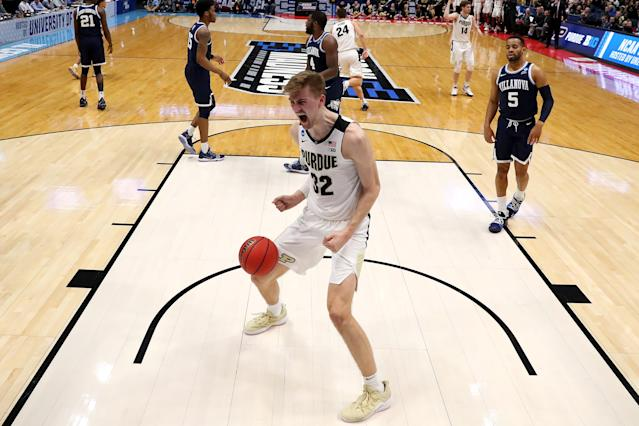 <p>Matt Haarms #32 of the Purdue Boilermakers celebrates after dunking the ball against the Villanova Wildcats in the first half during the second round of the 2019 NCAA Men's Basketball Tournament at XL Center on March 23, 2019 in Hartford, Connecticut. (Photo by Maddie Meyer/Getty Images) </p>