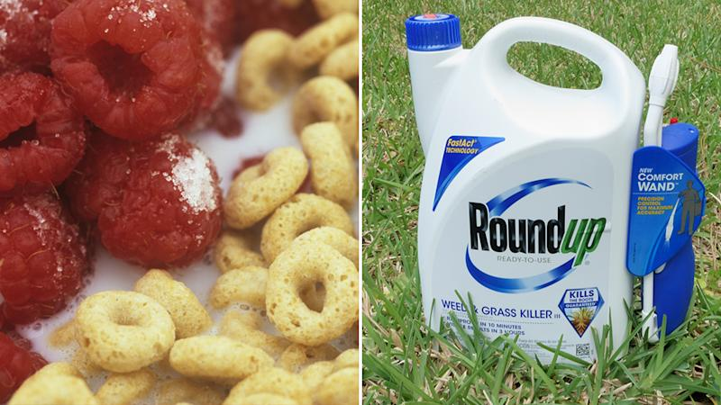 Cereal with berries and a bottle of Roundup weed killer