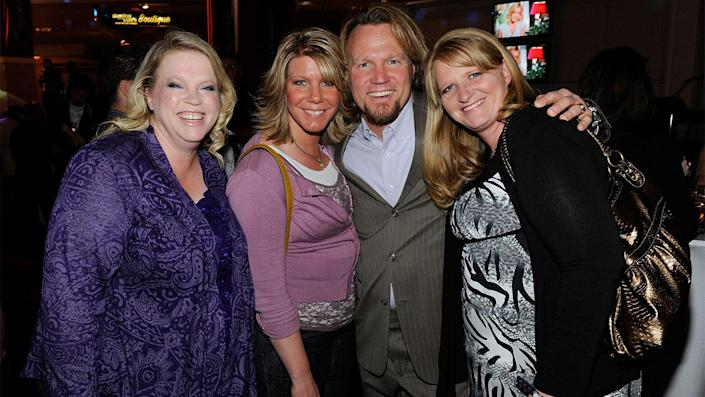 """Kody Brown (center) may be facing some martial woes with his plural wives. <span class=""""copyright"""">Photo by Ethan Miller/Getty Images for AEG Live</span>"""