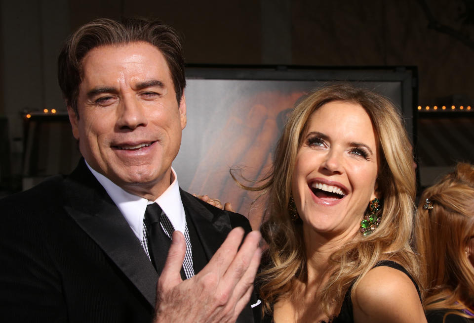 """Westwood, CA - January 27 John Travolta, Kelly Preston Attending Premiere Of """"FX's """"American Crime Story - The People V. O.J. Simpson"""" at Westwood Village Theatre On January 27, 2016. Credit: Faye Sadou/MediaPunch /IPX"""