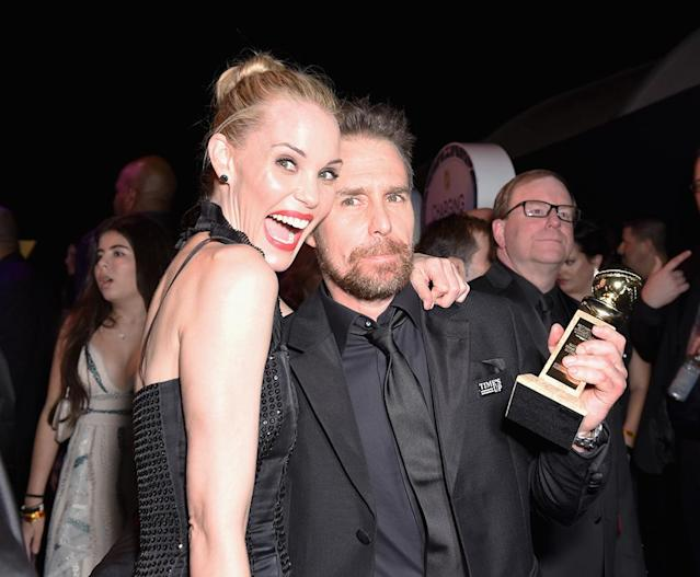 <p>Sam Rockwell, winner of Best Performance by an Actor in a Supporting Role — Motion Picture for <em>Three Billboards Outside Ebbing, Missouri</em>, and actor Leslie Bibb attend Hulu's Golden Globes after-party. (Photo: Presley Ann/Getty Images) </p>