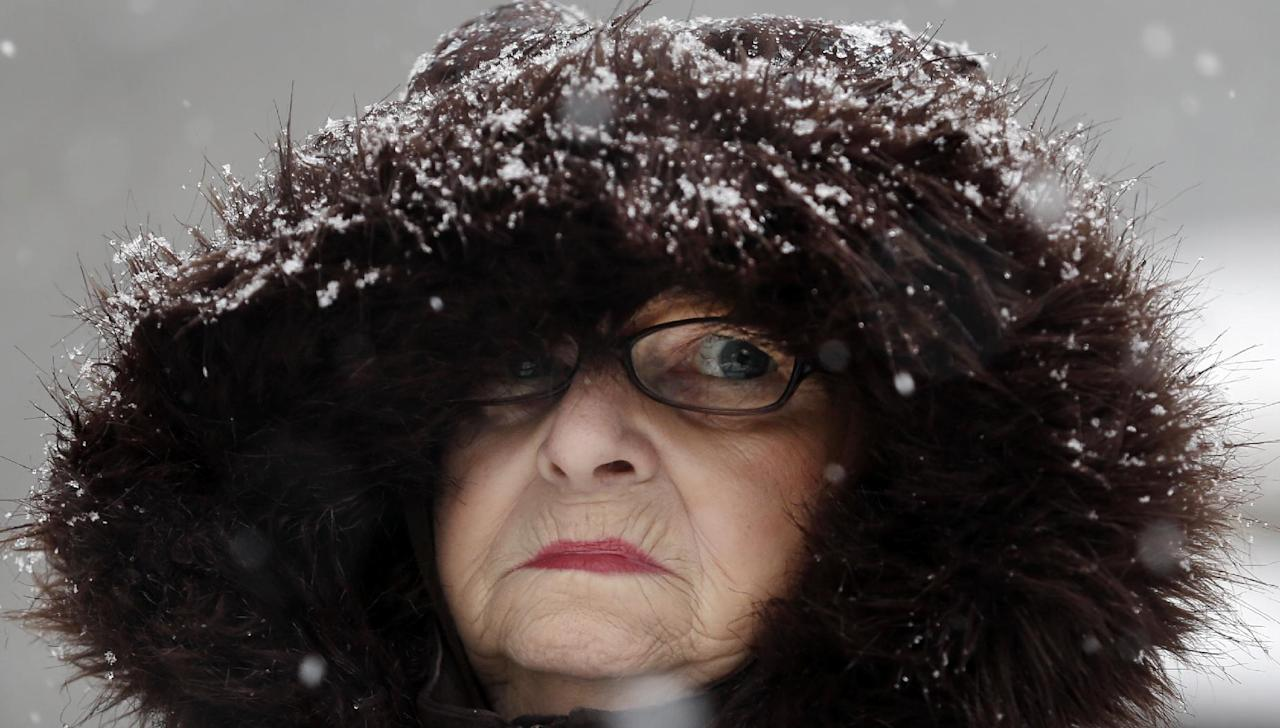 Mary Ann Bova walks along a slippery snow covered sidewalk during a winter storm in Buffalo, N.Y., Friday, Feb. 8, 2013. In some upstate areas, snow fell early Friday morning and was expected to increase throughout the day, with the heaviest accumulations expected in eastern New York on Friday night.(AP Photo/David Duprey)