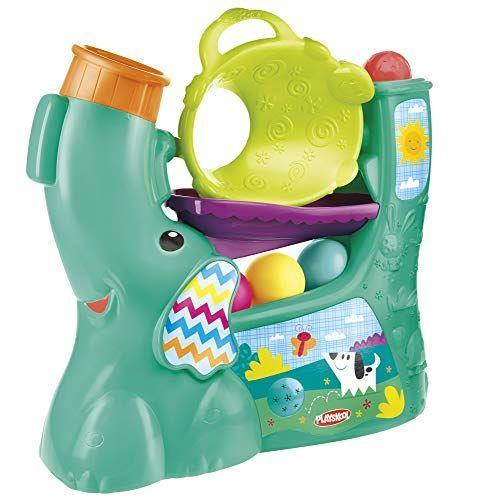 """<p><strong>Playskool</strong></p><p>amazon.com</p><p><strong>$32.99</strong></p><p><a href=""""https://www.amazon.com/dp/B01C5TFNJG?tag=syn-yahoo-20&ascsubtag=%5Bartid%7C10055.g.5152%5Bsrc%7Cyahoo-us"""" rel=""""nofollow noopener"""" target=""""_blank"""" data-ylk=""""slk:Shop Now"""" class=""""link rapid-noclick-resp"""">Shop Now</a></p><p>This toy is appropriate for babies and toddlers ages 9 months and up. Just press the button and colorful balls begin to pop out from the elephant's trunk. It includes four easy-grasp balls and also plays six fun songs. <em>Ages 9 months+</em></p><p><strong>RELATED:</strong> <a href=""""https://www.goodhousekeeping.com/holidays/christmas-ideas/g23610311/baby-gifts/"""" rel=""""nofollow noopener"""" target=""""_blank"""" data-ylk=""""slk:The Best Gifts for Babies to Delight Brand-New Parents"""" class=""""link rapid-noclick-resp"""">The Best Gifts for Babies to Delight Brand-New Parents</a></p>"""