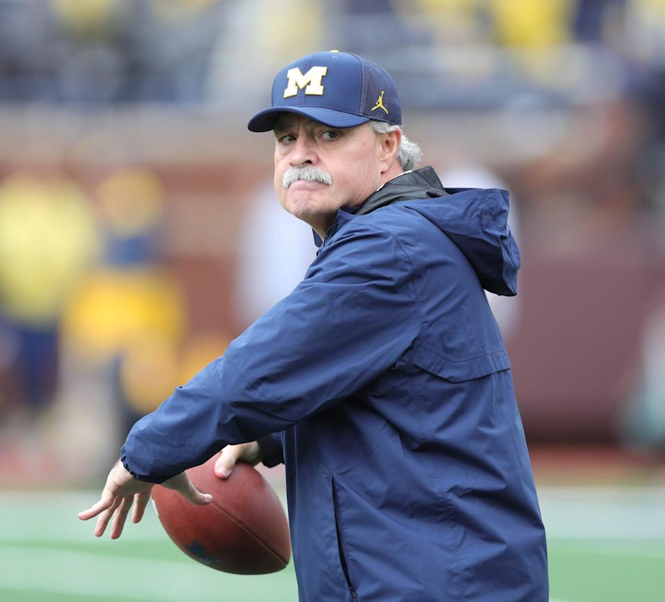 Michigan defensive coordinator Don Brown warms up players before action against Maryland, Saturday, Oct. 6, 2018 at Michigan Stadium.