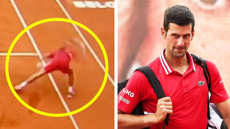 Novak Djokovic (pictured right) leaving after his victory and (pictured left) smashing his racquet at the Belgrade Open.