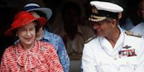 <p>The Queen and Prince Philip share a moment on their trip to Kiribati during their tour of the South Pacific in the fall of 1982. </p>