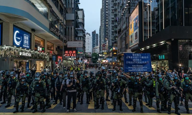 Riot police block a street during a rally on the day that should have been legislative elections in Hong Kong.