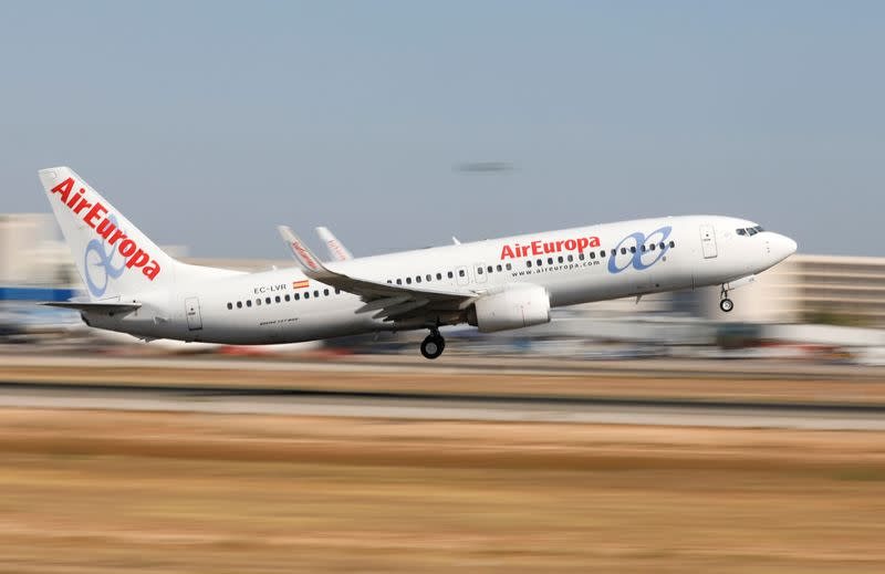 An Air Europa Boeing 737 airplane takes off at the airport in Palma de Mallorca