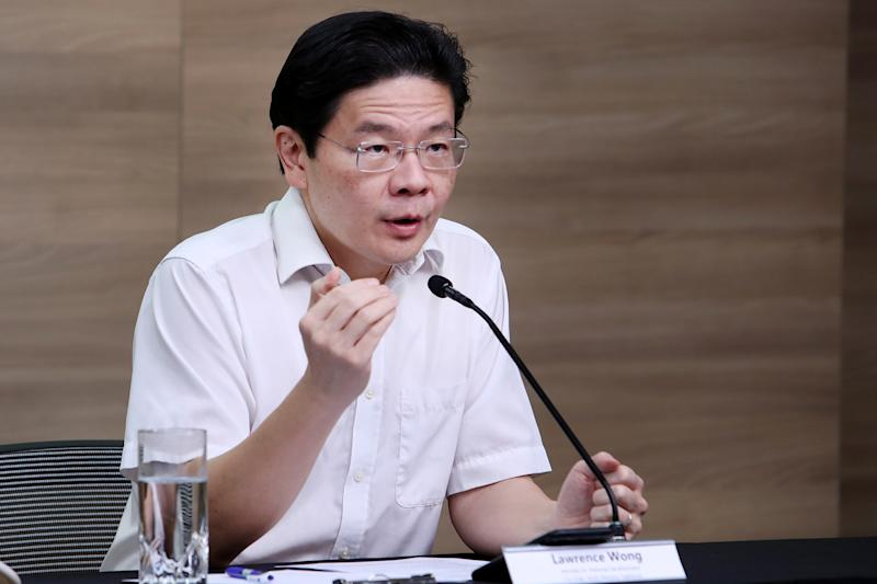 National Development Minister Lawrence Wong speaking at a multi-ministry taskforce press conference on 1 June 2020. (PHOTO: MCI)