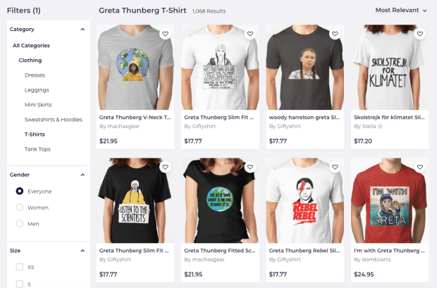 An array of Greta T-shirts for sale by Redbubble. Screenshot: Redbubble.com