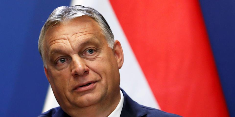FILE PHOTO: Hungary's Prime Minister Viktor Orban holds a joint news conference with Slovakia's Prime Minister Igor Matovic (not pictured) in Budapest, Hungary, June 12, 2020. REUTERS/Bernadett Szabo