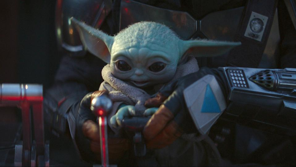"""An image of Baby Yoda from """"The Mandalorian."""" Disney press images"""