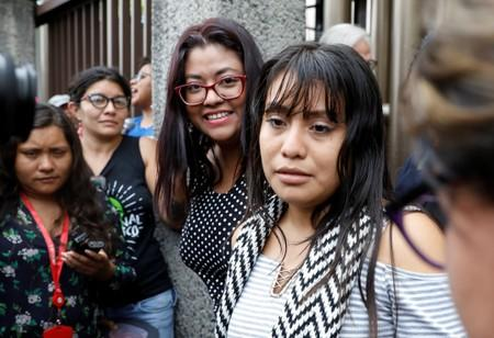 Evelyn Hernandez, who was sentenced to 30 years in prison for a suspected abortion, attends a hearing in Ciudad Delgado
