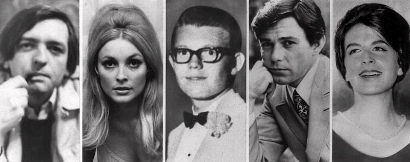 Combo image shows the five victims slain the night of Aug. 9, 1969 at the Benedict Canyon Estate of Roman Polanski. From left, Voityck Frykowski, Sharon Tate, Stephen Parent, Jay Sebring, and Abigail Folger. The next night, it happened again. Rosemary and Leno LaBianca, a wealthy couple who lived across town, were stabbed to death in their home. Thirty years later, the ghosts of the Tate-La Bianca murders will not rest. The Charles Manson cult that carried them out haunts the Internet and a new generation is oddly fixated on the nation's most bizarre and notorious killings. (AP Photo/File)