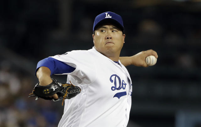 Los Angeles Dodgers starting pitcher Hyun-Jin Ryu throws to a Colorado Rockies batter during the second inning of a baseball game Wednesday, Sept. 4, 2019, in Los Angeles. (AP Photo/Marcio Jose Sanchez)
