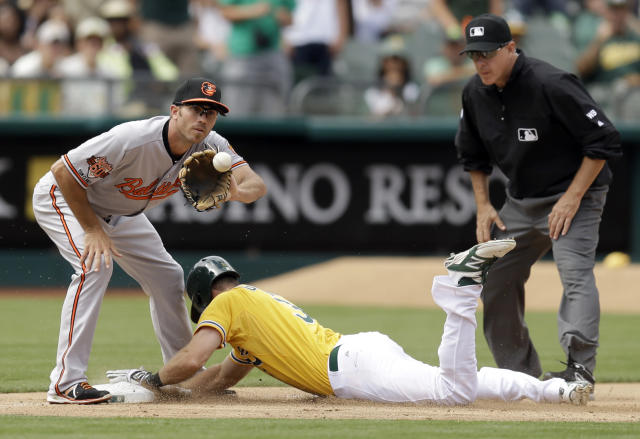 Baltimore Orioles shortstop J.J. Hardy, left, waits for the ball as Oakland Athletics' Craig Gentry advances to third on a throwing error by Manny Machado as umpire Paul Emmel stands at right in the fifth inning of a baseball game Sunday, July 20, 2014, in Oakland, Calif. (AP Photo/Ben Margot)