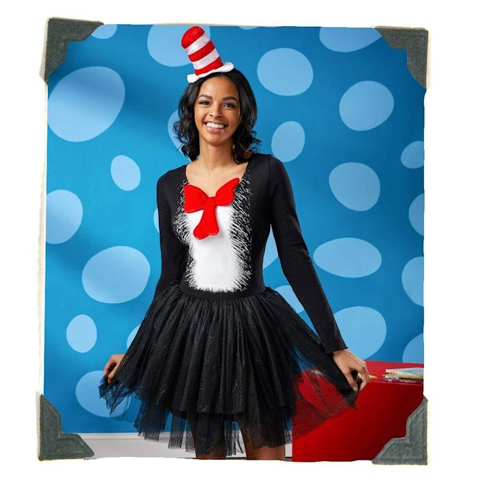 """<p><strong>Spirit Halloween</strong></p><p>spirithalloween.com</p><p><strong>$49.99</strong></p><p><a href=""""https://go.redirectingat.com?id=74968X1596630&url=https%3A%2F%2Fwww.spirithalloween.com%2Fproduct%2Fhalloween-costumes%2Fwomens-costumes%2Fview-all-womens-costumes%2Fadult-cat-in-the-hat-tutu-dress-dr-seuss%2Fpc%2F4742%2Fc%2F1326%2Fsc%2F4254%2F134518.uts&sref=https%3A%2F%2Fwww.bestproducts.com%2Flifestyle%2Fnews%2Fg1771%2Ftop-trending-halloween-costumes%2F"""" rel=""""nofollow noopener"""" target=""""_blank"""" data-ylk=""""slk:Shop Costume"""" class=""""link rapid-noclick-resp"""">Shop Costume</a></p><p>What better plan is there for mischief night than to dress up as your favorite storybook troublemaker? Dr. Seuss's Cat in the Hat is never without <a href=""""https://www.amazon.com/Dr-Seuss-Thing-Emblem-T-shirt/dp/B079PQPLT3/ref?tag=syn-yahoo-20&ascsubtag=%5Bartid%7C2089.g.1771%5Bsrc%7Cyahoo-us"""" rel=""""nofollow noopener"""" target=""""_blank"""" data-ylk=""""slk:Thing One"""" class=""""link rapid-noclick-resp"""">Thing One</a> and <a href=""""https://www.amazon.com/Dr-Seuss-Thing-Emblem-T-shirt/dp/B079PYLZTM/ref?tag=syn-yahoo-20&ascsubtag=%5Bartid%7C2089.g.1771%5Bsrc%7Cyahoo-us"""" rel=""""nofollow noopener"""" target=""""_blank"""" data-ylk=""""slk:Thing Two"""" class=""""link rapid-noclick-resp"""">Thing Two</a>, so recruit your pals (or your kids!) to complete your pesky posse!</p>"""