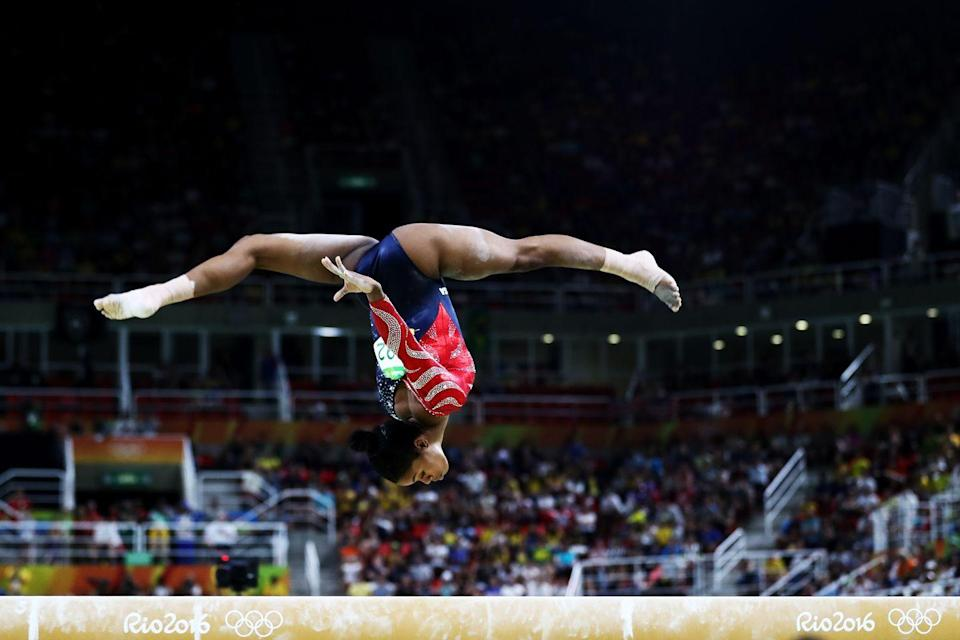 <p>Simone Biles' inverted moves on the balance beam are just a fraction of her insane skills (several of which have since been named after her).</p>