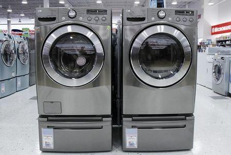 Washers and dryers are seen on display at a store in New York