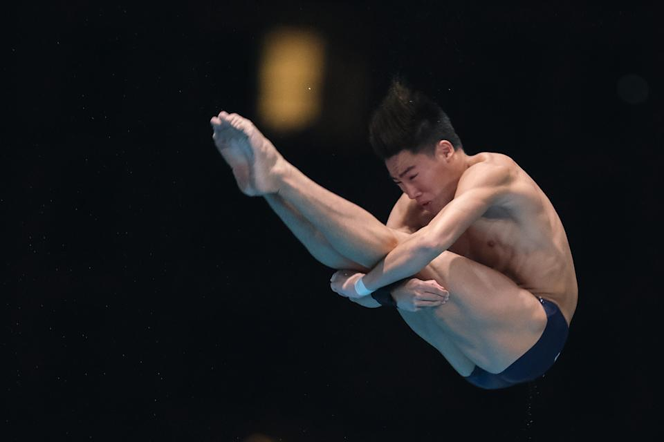 KUALA LUMPUR, MALAYSIA - SEPTEMBER 08:  Jonathan Chan of Singapore in action during Men 10 Platform final at the 8th Asian Diving Cup 2019 on September 08, 2019 at Bukit Jalil National Aquatic Centre in Kuala Lumpur, Malaysia. (Photo by How Foo Yeen/Getty Images)
