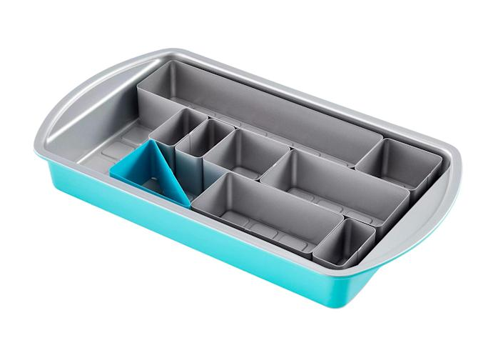"""<p>Join the sculptured-cake trend without having to sculpt a thing! This 9 1⁄4 x 15-in. nonstick pan comes with eight movable inserts and a gridded base so you can bake preshaped desserts that look as good as the pros'.</p> <p><strong>Buy it!</strong> $40; <a href=""""https://www.pamperedchef.com/shop/Cookware+&+Bakeware/Baking+Pans/Numbers+and+Letters+Cake+Pan/100279"""" rel=""""sponsored noopener"""" target=""""_blank"""" data-ylk=""""slk:pamperedchef.com"""" class=""""link rapid-noclick-resp"""">pamperedchef.com</a></p>"""