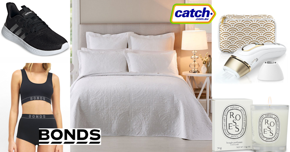 See some of the amazing sales on offer this weekend. Photo: Catch.com.au/Bonds/Shaver Shop/Bed bath and table