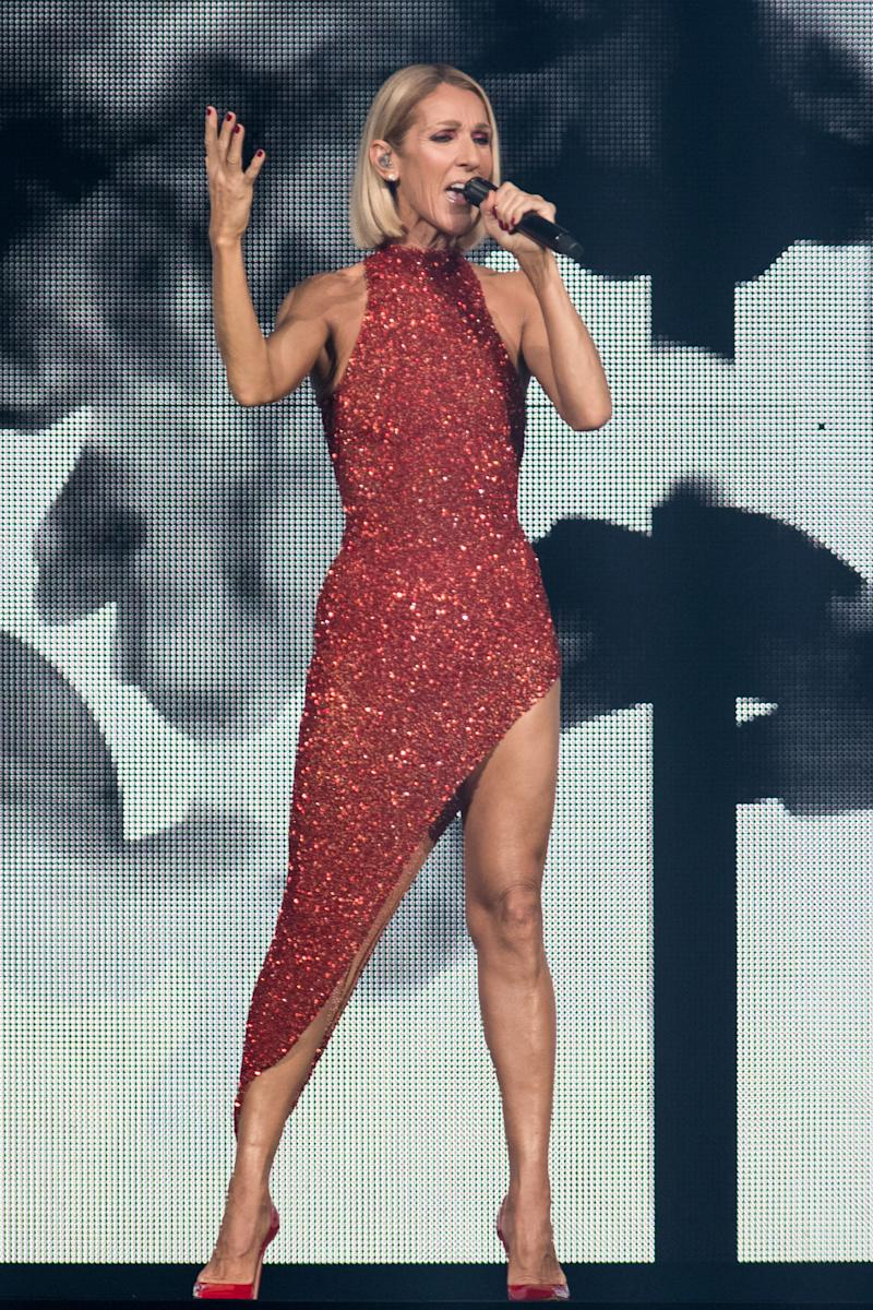 """Canadian singer Celine Dion performs on the opening night of her new world tour """"Courage"""" at the Videotron Centre in Quebec City, Quebec, on September 18, 2019"""