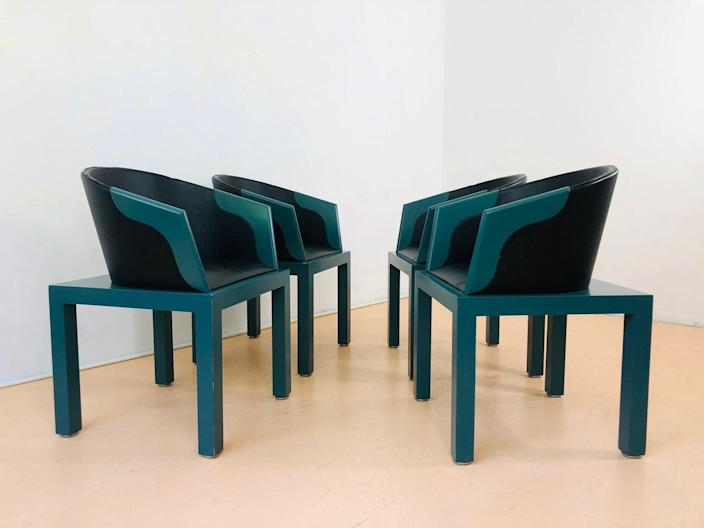"""$571, Etsy. <a href=""""https://www.etsy.com/listing/951438703/set-of-4-playful-chairs-in-memphis-style"""" rel=""""nofollow noopener"""" target=""""_blank"""" data-ylk=""""slk:Get it now!"""" class=""""link rapid-noclick-resp"""">Get it now!</a>"""