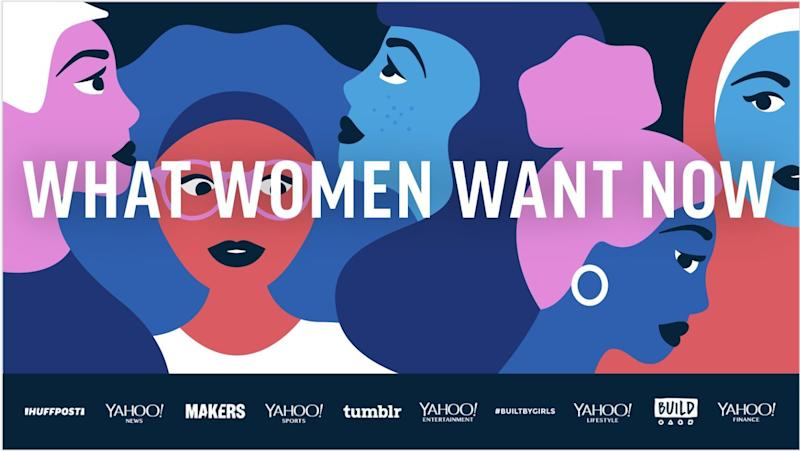 "Verizon Media brands come together to report on ""What Women Want Now"" for International Women's Day."