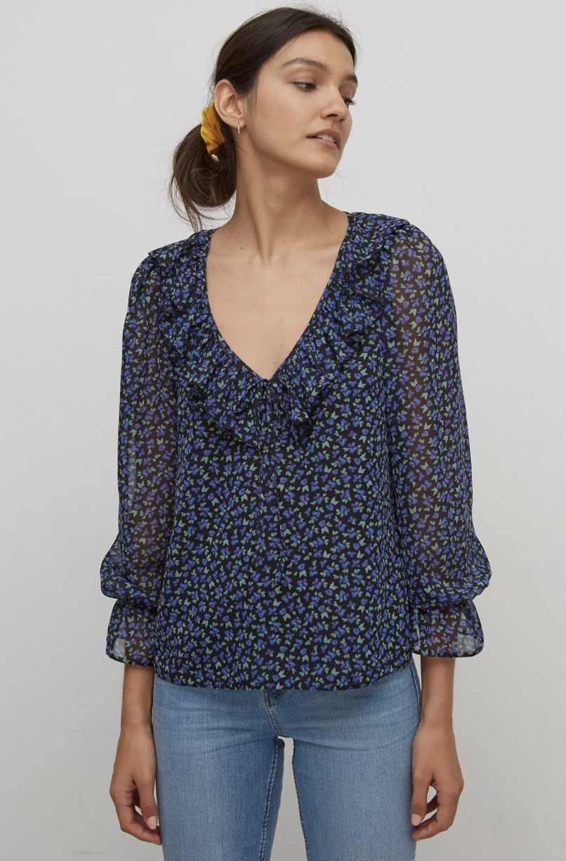 Ditsy Floral V-Neck Long Sleeve Blouse