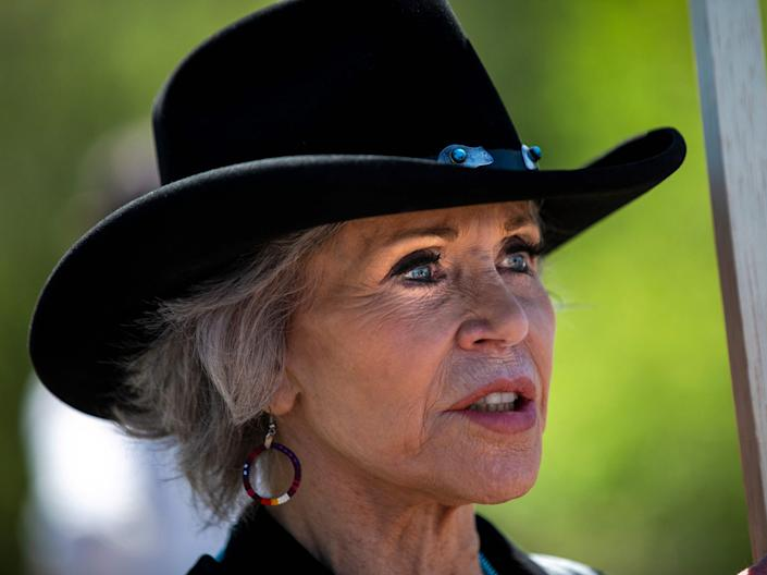 Jane Fonda has been an active opponent of new oil pipelines, drawing the ire of conservatives (AFP via Getty Images)