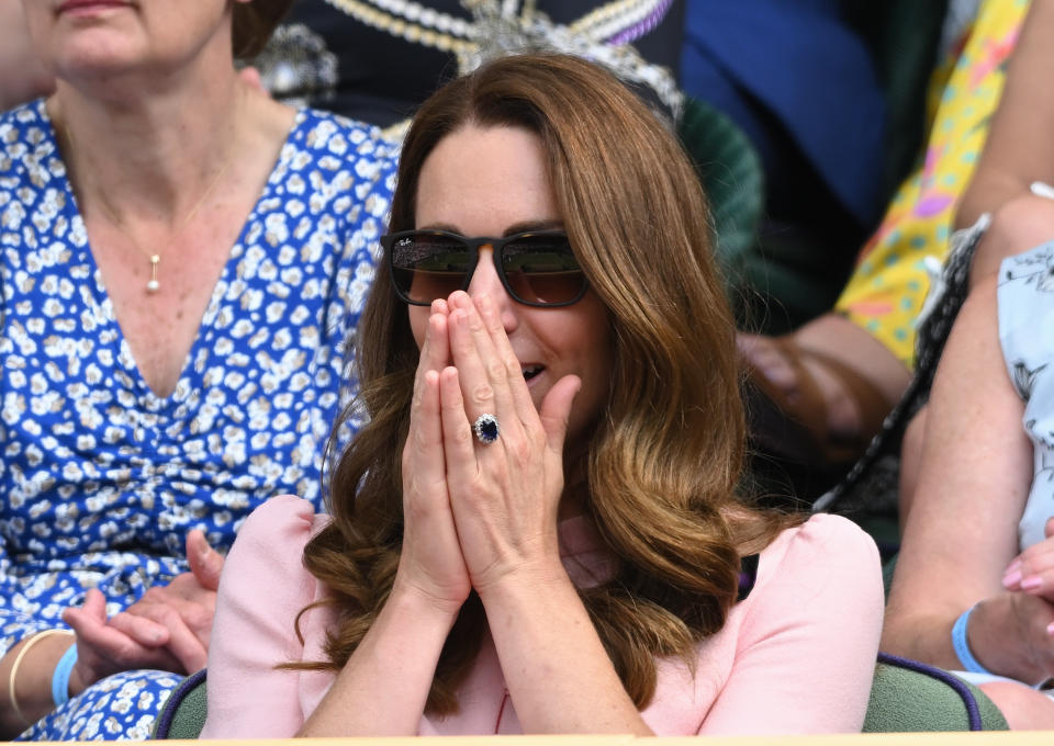 LONDON, ENGLAND - JULY 11: Catherine, Duchess of Cambridge attends day 13 of the Wimbledon Tennis Championships at All England Lawn Tennis and Croquet Club on July 11, 2021 in London, England. (Photo by Karwai Tang/WireImage)